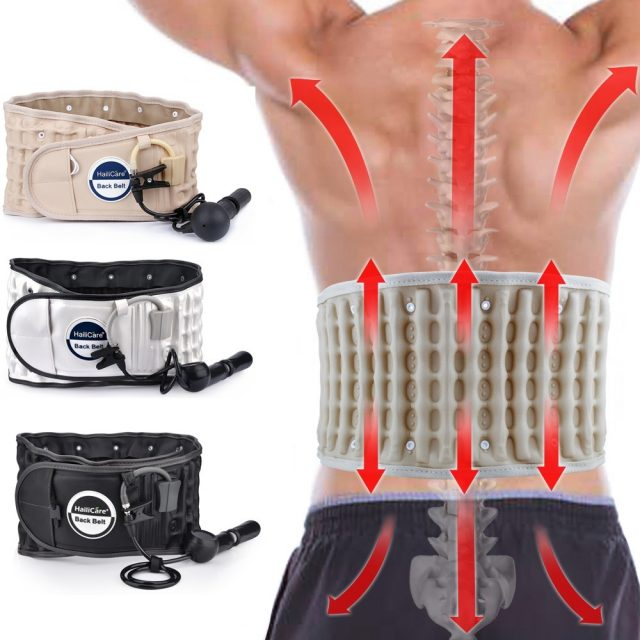 Back Decompression Belt Lumbar Posture Corrector Spinal Air Traction Protector Waist Brace Support Pain Relieve Massager